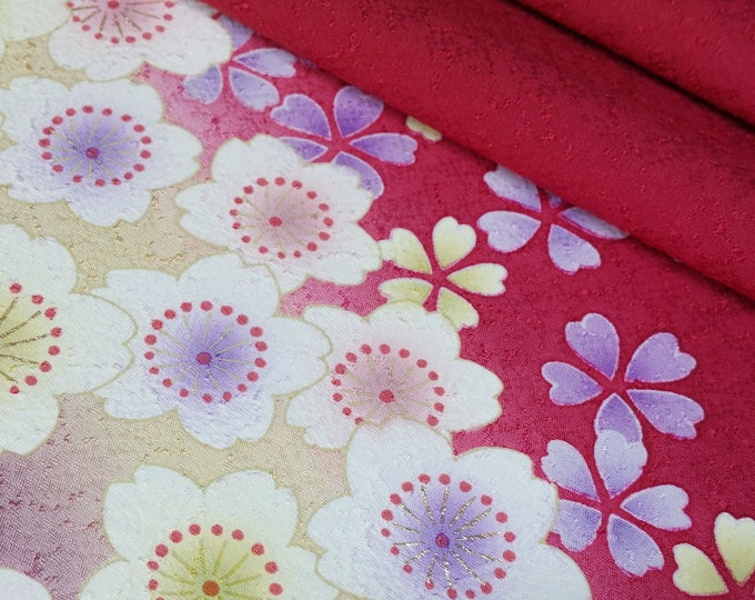 Featured listing image: Deep red silk furisode kimono fabric panel -  sakura cherry blossoms