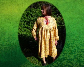 Spring/summer/fall, loose-fitting baby doll/Bohemian yellow floral dress knee-length