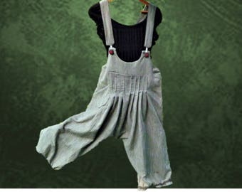 Spring/summer/fall, loose-fitting jumpsuit harem baggy khaki striped cotton