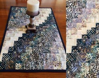 "Batik table runner Modern bargello geometric batik table runner.  Dr sser runner.  Quilted table topper table mat 16"" x 27.5"""