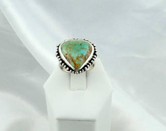 Lovely Green Turquoise Cabochon in a Vintage Sterling Silver Ring #GREENTQ-SR2