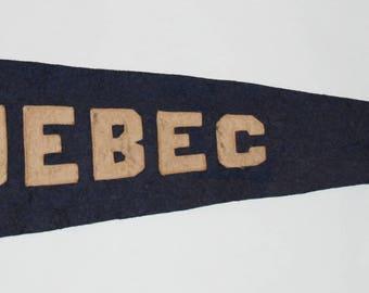 1940s-'50s era Souvenir Sewn Letters Quebec Felt Pennant — Free Shipping!