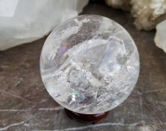 Large AAA Quality Rainbow, Clear Quartz Crystal Sphere