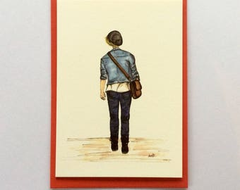 Left Foot, Right Foot|Teenage Boy|A6 Card|Off to Uni|Off to College|DenimJacket|Illustration|Graduation Card for boy|Congratulations Card