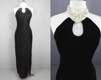 80's/90's Prom Dress    Late 80's Early 90's Black Velvet Maxi Halter Style Occasion Dress Beaded Collar 80s Party Dress