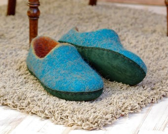wool slippers, woman slippers, slippers gift for mother, ready to ship slippers, boiled wool slippers, turquoise color slippers