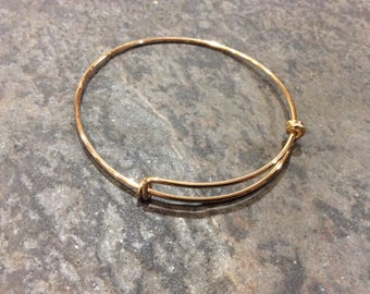 "Gold finish Double Loop Adjustable wire bangle bracelet blanks   2 1/2"" New color!"