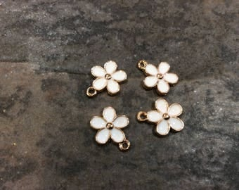 Daisy flower charms in gold finish with white enamel detail package of 4 charms great for Easter and Spring Jewelry projects
