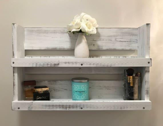 Rustic White Distressed Wood Bathroom Shelf Farmhouse Decor
