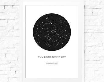 Custom star map print, Digital download, Star map custom, Constellation printable, Customized star map, Constellation print personalised
