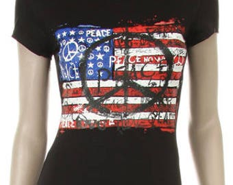 American Flag with Peace Sign Shirt