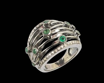 4th july 1 PC Beautiful  Yellow Diamond  With Emerald Stone Ring - 925 sterling silver Diamond Handmade Ring  RD-8333