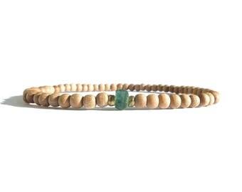 onyx gemstone sandalwood bracelet / womens small bead sandalwood onyx gemstone bracelet / 3mm sandalwood beaded women bracelet