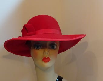 Woman's Velour Millinery Hat Large Brim Red