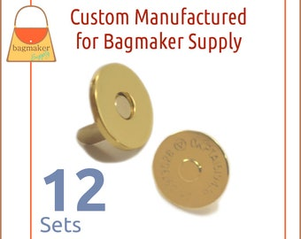 "18 mm Extra Thin Magnetic Snaps, Gold Finish, 12 Set Pack, Purse Handbag Bag Making Hardware Supplies, 3/4"", 3/4 Inch, BSN-AA037"