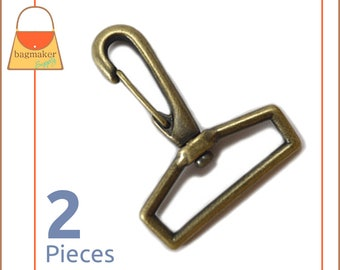 "1-1/2 Inch Swivel Snap Hooks, Antique Brass / Bronze Finish, 2 Pieces, Handbag Purse Bag Making Hardware Supplies, 1.5"", SNP-AA031"