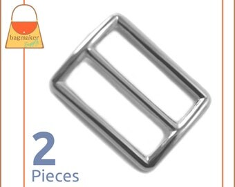 "1.25 Inch Slide for Purse Straps, Shiny Nickel Finish, 2 Pieces, Handbag Bag Making Supplies Hardware, 1-1/4"", BKS-AA026"