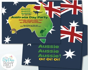 Australia Day/Aussie Party Printable Invitation, 5x7in. Instant Download