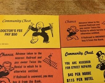 3 Complete Sets of Monopoly Community Chest and Chance Cards