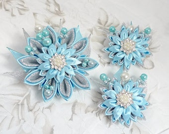 "Sparkling Blue and Silver Kanzashi Fabric Flower set of  Brooch and  2  small Hair clips .    ""For me and my mom"""
