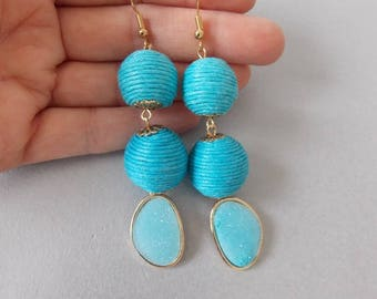 Turquoise Thread Ball and Druzy Style Statement Earrings