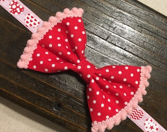 Valentine's Day heart pom pom headband