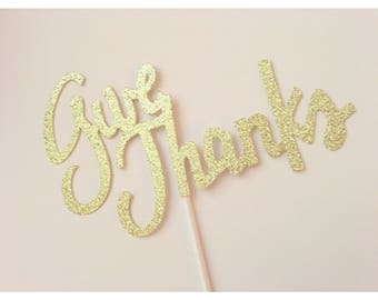 Give Thanks Thanksgiving Cake topper, Thanksgiving Cake. Happy Thanksgiving, Friendsgiving cake, Thanksgiving decorations