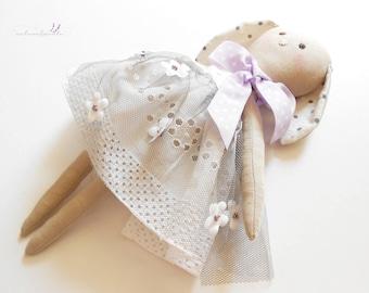 Anaelle -textile bunny doll - cloth doll - handmade doll - dress doll -  rag doll - textile toy - textile rabbit