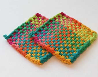 Two woven potholders or two extra large coasters, contemporary, yellow, orange, green, and blue home decor, all cotton, eco-friendly