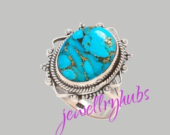 Blue Turquoise Ring, Copper Turquoise Ring, Handmade Ring, Turquoise Stone Ring,925 Sterling Silver, Silver Ring, R25TRB