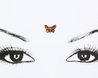 butterfly bindi, multicolor rhinestones, skin jewel, face jewelry