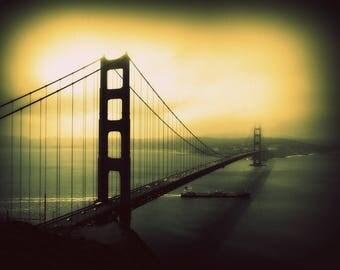Golden Gate bridge / San Francisco / Vintage style photography -  Photographie d'art numérique, finition mate avec passe-partout