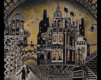 """Linogravure originale """"Un autre monde II"""" / Techniques mixtes / Tirage limité, numéroté et signé de l'artiste / Steampunk / Retro"""