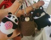 Custom Order: Brown Bear, Panda, and Black Wolf