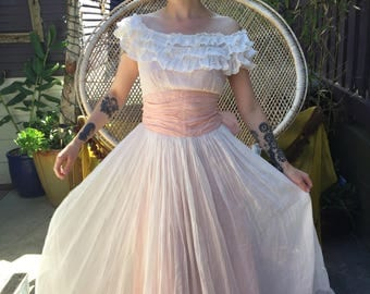 Small 1940s Emma Domb Party Lines white and pink organdy party dress