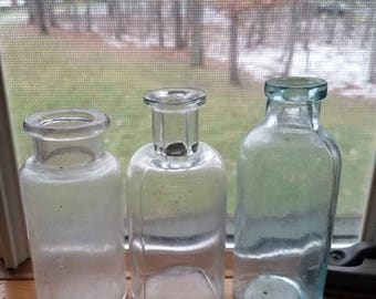 Lot of 3 Antique Miniature Medicinal Bottles