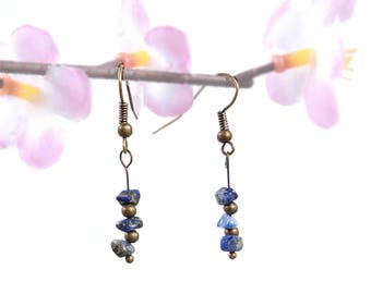 Lapis lazuli earrings, handmade gemstone jewelry, natural bohemian earring, lapis lazuli jewelry blue gemstone earring bohemian jewelry vyc