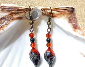 Orange, ivory and black silver speckled lampwork earrings