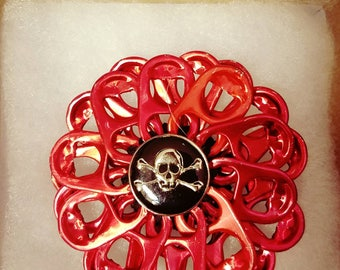 Red flower hair pin with skull button | pull tab | handmade | upcycle | READY TO SHIP