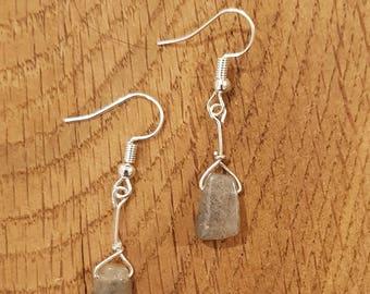 Labradorite earrings, Labradorite jewelry, smoky earrings, grey earrings, gift for her, birthday gift, silver earrings, gemstone earrings