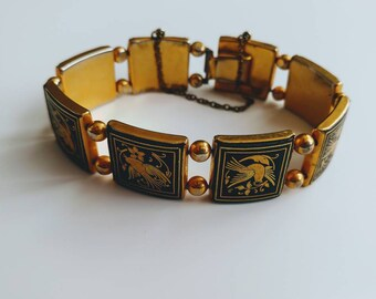 Vintage Damascene panel bracelet