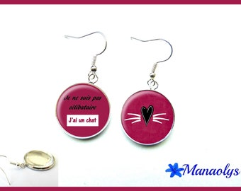 Message, humor, funny phrase, 3154 glass cabochons earrings