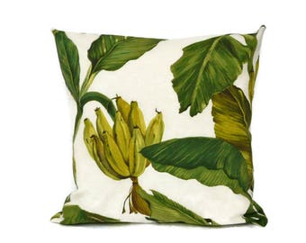 Banana plant pillow cover, jungle cushion cover, floral throw pillow ,jungle pillow cover, botanical pillow, green banana leaf print