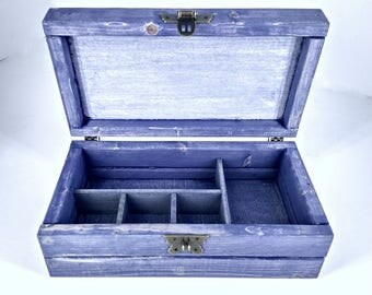 Weathered Blue Box, Divided Jewelry Box, Wood Keepsake Chest, Box with 5 Compartments, Storage Case, Crystal Collection Box, Engraved Gift