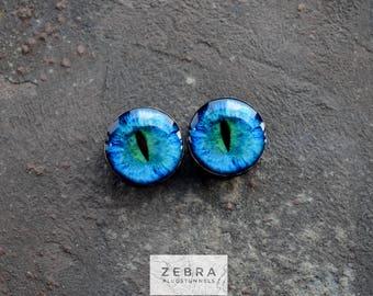 "Dragon eye image ear plugs wooden tunnels 4,5,6,8,10,12,14,16,18,20,22,25-60mm;6g,4g,2g,0g,00g;1/4,5/16,3/8,1/2,9/16,5/8,3/4,7/8,1 1/4,1"""