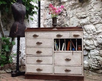 Exquisite French Haberdashery Set Of Drawers: Beautiful patina and Paintwork, Original handles, Gallery top and a Hand-made Dovetails.