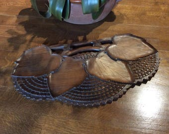 Midcentury 1960s teak four section carved leaf H'ordeurves tray, carved serving platter, Midcentury H'ordeurves tray,