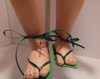 Green Sandals for American Character Whimsies Dolls
