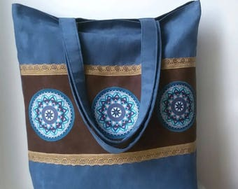 Blue mandala bag Bohemian tote bag Large tote bag Zippered bag Vegan tote bag Hippie bag Boho tote bag Everyday tote bag Boho chic bag