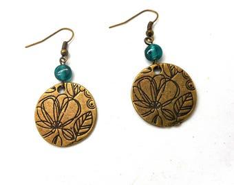 Flower, green glass bead earrings